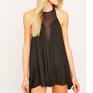 Urban Outfitters UO black lace/sheer Dolly romper